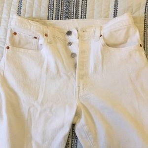 White Levi 501 skinny jeans